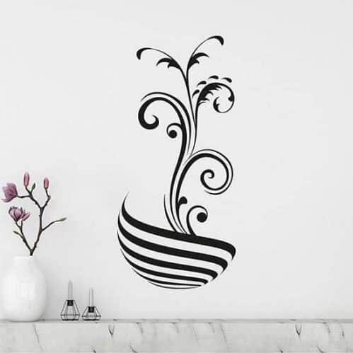Adesivi murali stilizzati floreali nero