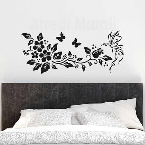 Decorazioni adesive con farfalle e fiori, adesivi da parete