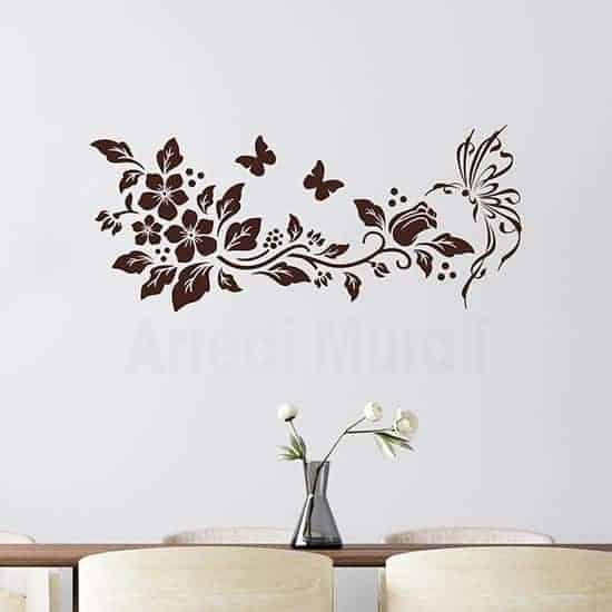 Decorazioni adesive con farfalle e fiori