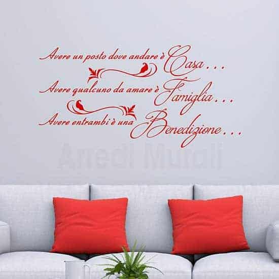 Frase adesiva da parete per la famiglia