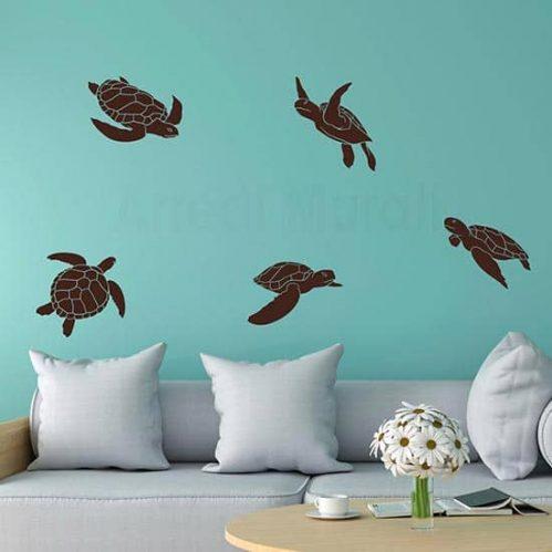 adesivi murali in offerta con set da 5 tartarughe