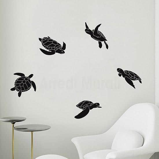 adesivi murali in offerta con 5 tartarughe