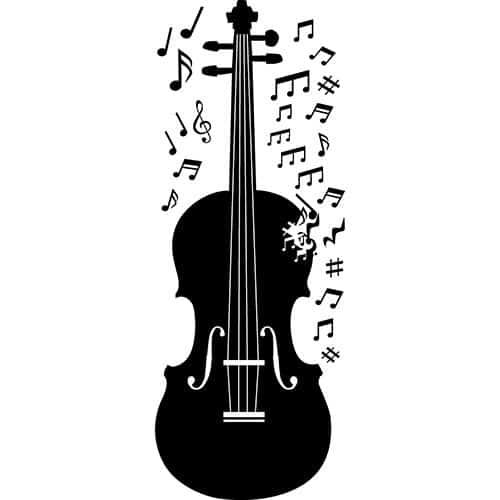 Disposizione degli adesivi murali violino con note