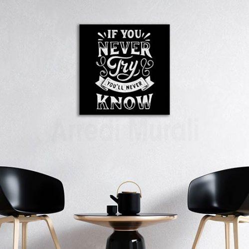 Quadro su tela stampa con frase, decorazione da parete