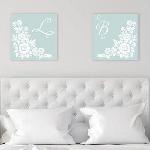 2 quadri su tela personalizzati camera letto