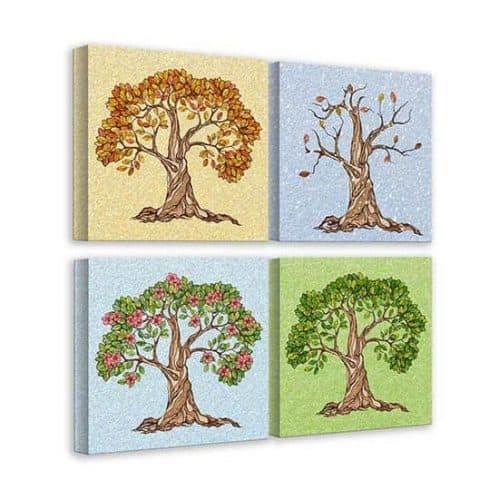 4 quadretti con alberi