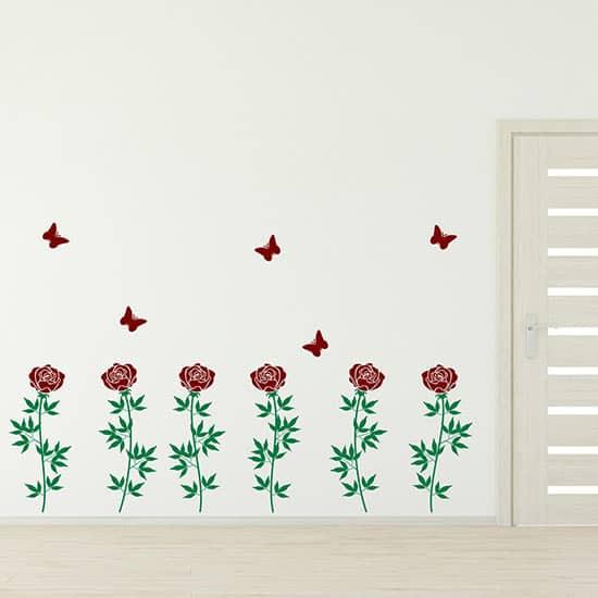 Decorazione adesiva da parete con fiori, adesivi murali