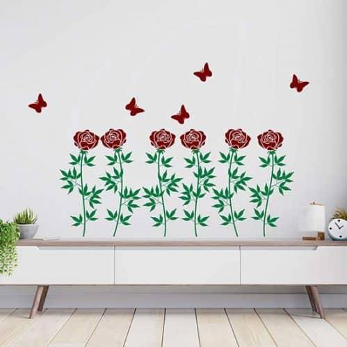 Decorazione adesiva da parete con fiori