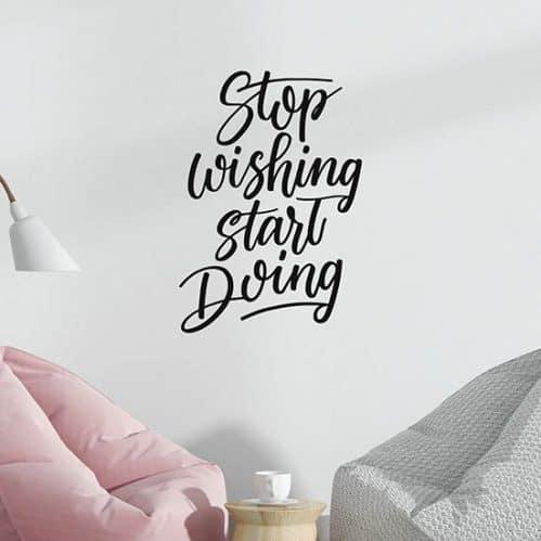 Frase adesiva da muro motivazionale