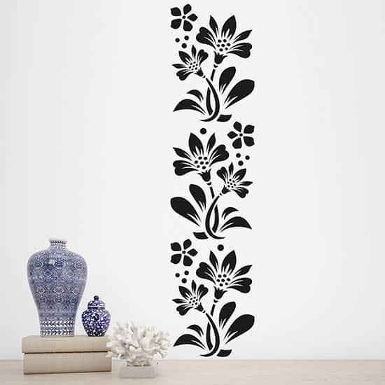 Greca adesiva da parete con fiori