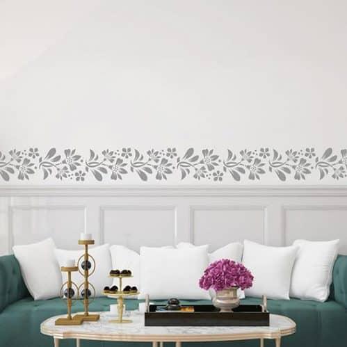 Greca adesiva da parete con fiori, decorazioni murali