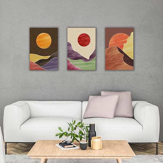 paesaggio astratto su 3 tele