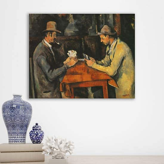 Quadro famoso I giocatori di carte, riproduzione su tela