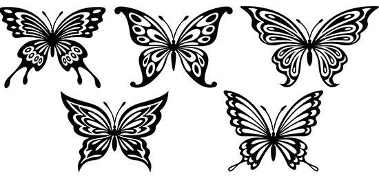5 farfalle adesive grandi
