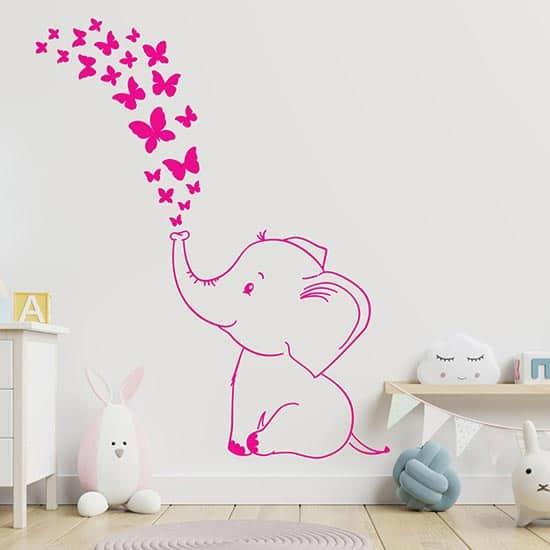 Adesivi murali elefantino con farfalle fucsia