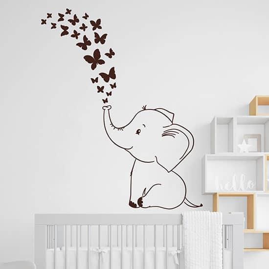 Adesivi murali elefantino con farfalle