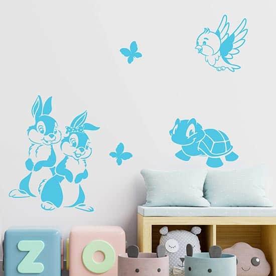 Animaletti adesivi per la cameretta dei bambini azzurri