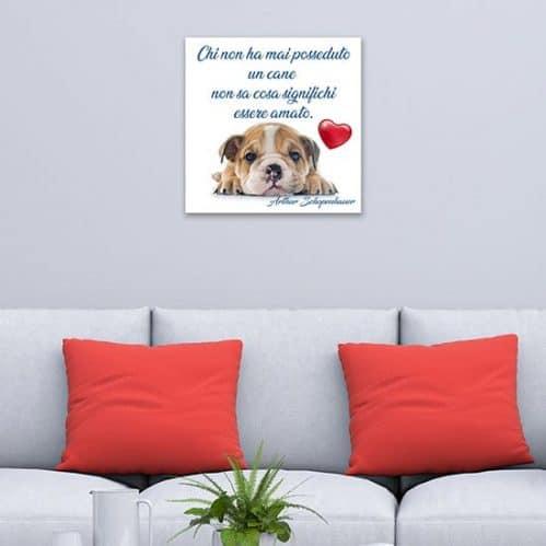 Quadro con frase amore del cane, stampa su tela