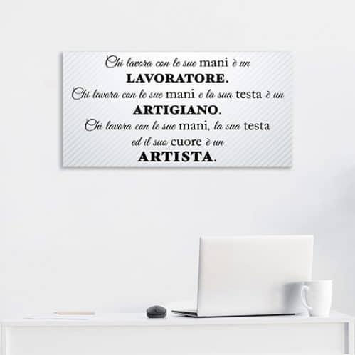 Quadro su tela con frase sul lavoro, decorazione da parete