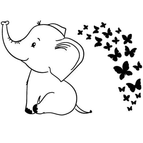 posizione degli adesivi elefantino con farfalle