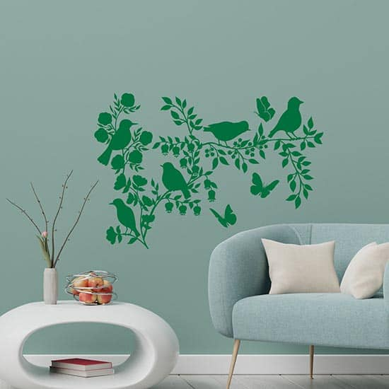 Decorazione adesiva con fiori e uccelli verde