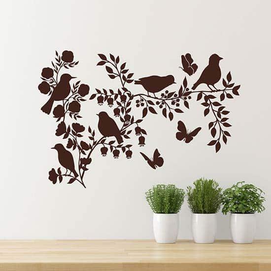 Decorazione adesiva con fiori e uccelli