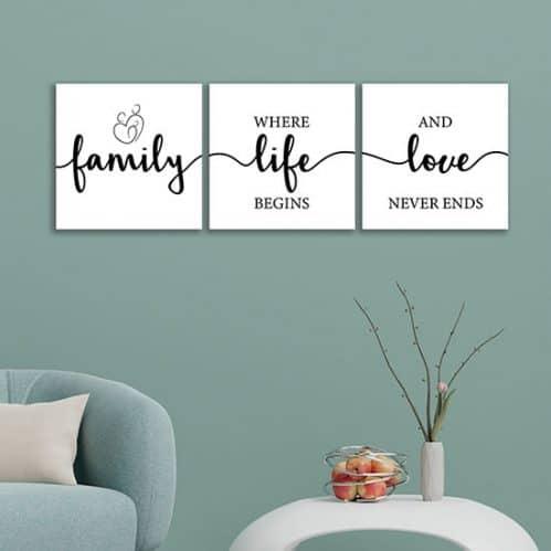 Quadri con frasi sulla famiglia stampe su tela