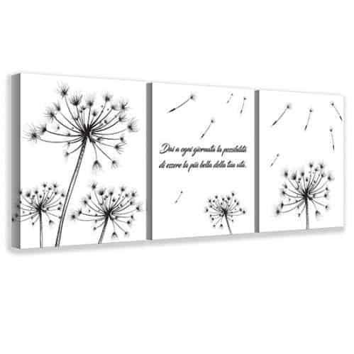 Quadri su tela con fiori e frase