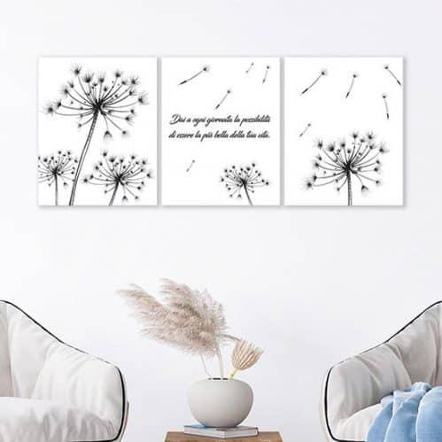 Quadri su tela con fiori e frase, decorazione da parete