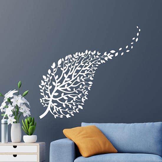 adesivi murali ramo con foglie bianchi