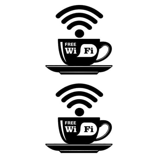 disposizione degli adesivi wi fi per bar