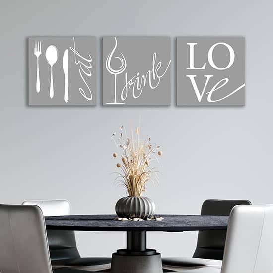quadretti con frasi per la cucina 3 tele moderne