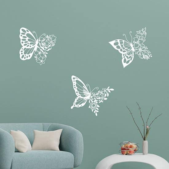 Stickers murali farfalle adesive con fiori