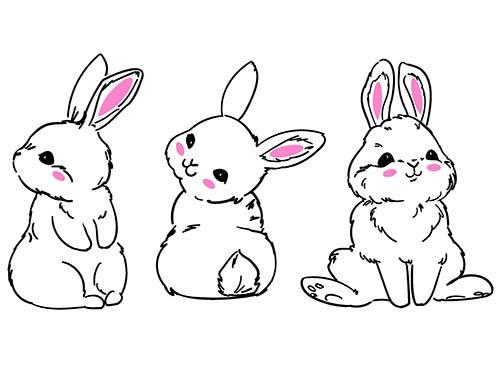 3 coniglietti adesivi