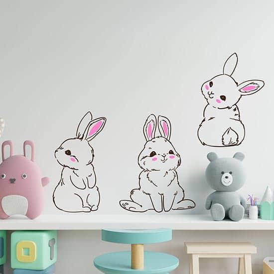Adesivi murali coniglietti per bambini