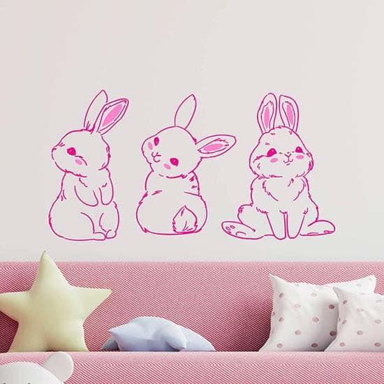 adesivi murali coniglietti per cameretta