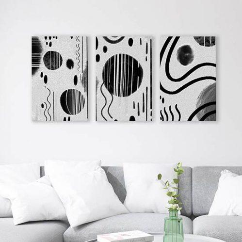 Quadri astratti su tela in bianco e nero