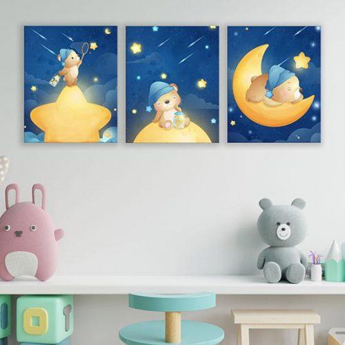 Quadri moderni su tela per bambini, 3 quadretti
