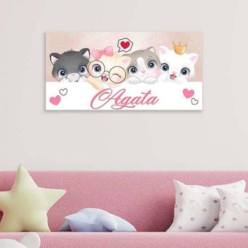 Quadro personalizzato con nome per bambina su tela