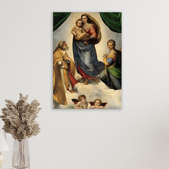 Riproduzione su tela della Madonna Sistina di Raffaello