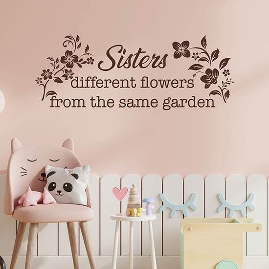 Scritta adesiva da muro per sorelle