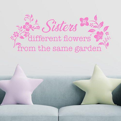 Scritta adesiva murale per sorelle