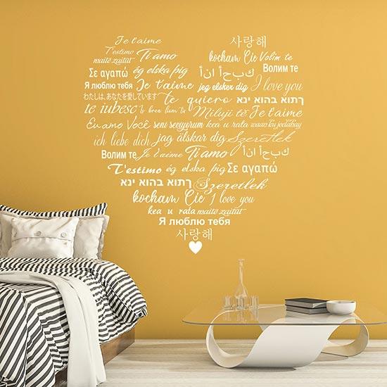adesivi da parete love per camera da letto