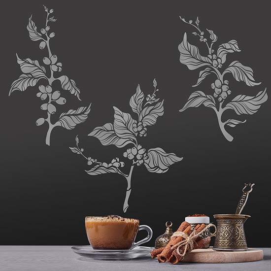 Adesivi murali albero del caffè decorazioni adesive