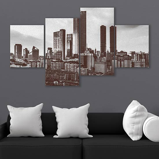 Quadri su tela con paesaggio a carboncino della città