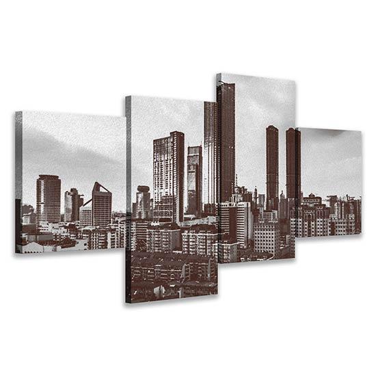 Quadri su tela con paesaggio a carboncino