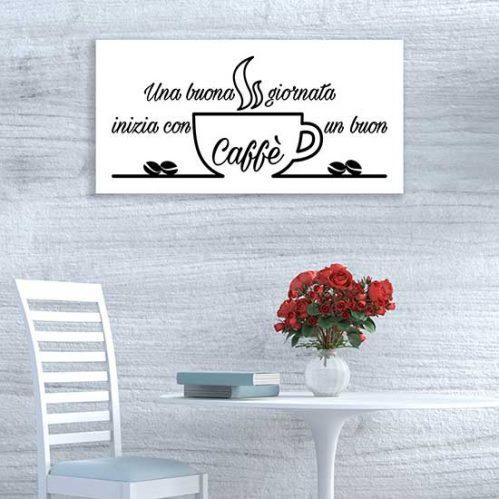 Quadro su tela con scritta caffè stampa bianca e nera