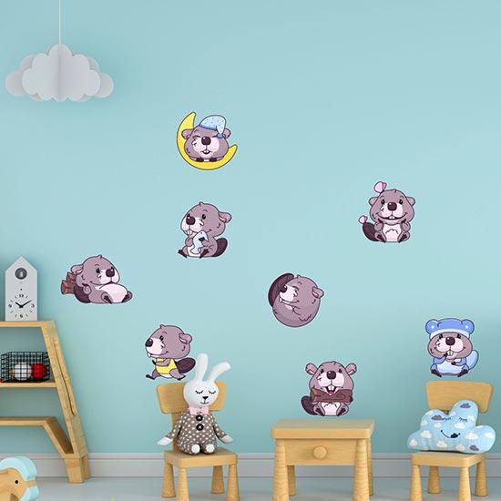 Stickers murali per bambini 8 castori