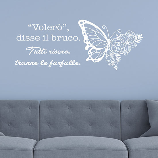 Frase motivazionale farfalla adesiva adesivi murali