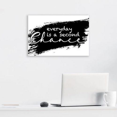 Quadro bianco e nero con frase su tela